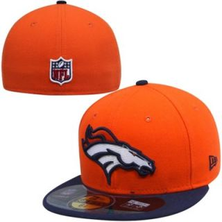 New Era Denver Broncos Breast Cancer Awareness On Field 59FIFTY Fitted Performance Hat   Orange/Navy Blue