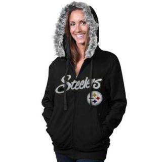 Pittsburgh Steelers Ladies Brushed Fleece Full Zip Hoodie   Black