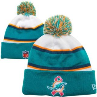 New Era Miami Dolphins Breast Cancer Awareness Sport Knit Hat   White/Aqua