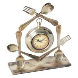 Elk Lighting Spoon and Fork Utensil Desktop Clock   Desktop Clocks
