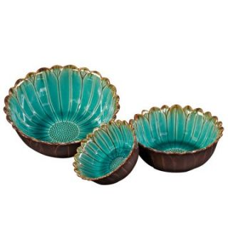 Deep Sea Blue with Mocha Accents Ceramic Decorative Bowls   Bowls & Trays