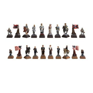 Civil War Hand Painted Metal Chessmen   Chess Pieces