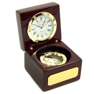 Bey Berk International Compass Rosewood Desktop Clock   Desktop Clocks