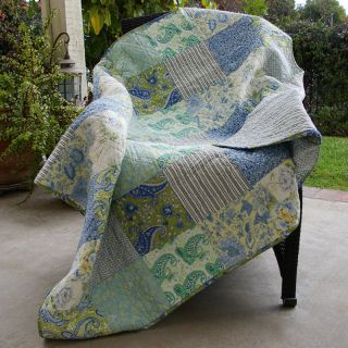 Greenland Home Fashions Vintage Jade   50W x 60L in. Quilted Throw   Decorative Throws