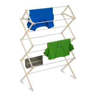 Honey Can Do Wood Knockdown Drying Rack   24 Linear Feet   Clothes Drying Racks
