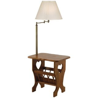 Anthony California Aditi Oak Floor Lamp With Magazine Rack Floor Lamps
