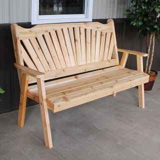 A & L Furniture Western Red Cedar Fanback Garden Bench   Outdoor Benches