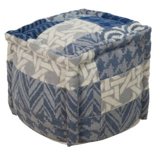 Surya 18 in. Patchwork Cube Wool Pouf   Ottomans