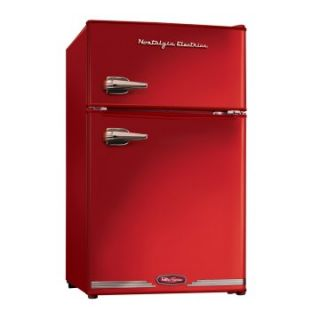Nostalgia Electrics RRF325CR Retro Series 3.1 cu. ft. Compact Refrigerator Freezer   Red   Small Refrigerators