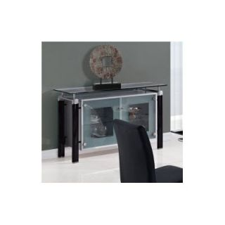 Global Furniture Inira Metal and Frosted Glass Dining Buffet   Black/Silver   Dining Accent Furniture