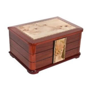 Mapa Burl Chest with Bubinga Inlay Jewelry Box   Womens Jewelry Boxes