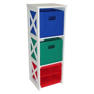 RiverRidge Kids X Frame Kids Storage with 2 Colored Bins and 4 Slot Cubby   Toy Storage