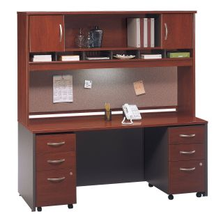 Bush Series C Credenza and 72 Inch Hutch with Mobile File Drawers In Hansen Cherry   Computer Desks