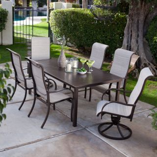Coral Coast Del Rey Deluxe Padded Sling Aluminum Table Dining Set   Seats 6   Patio Dining Sets