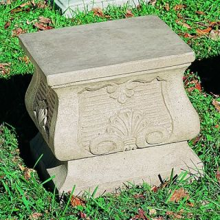 Campania International Square Shell Cast Stone Pedestal For Urns and Statues   Garden Decor