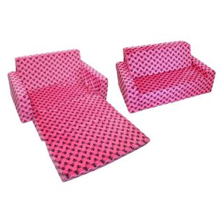 Harmony Kids Flip Foam Sofa   Hot Pink Skull   Chairs