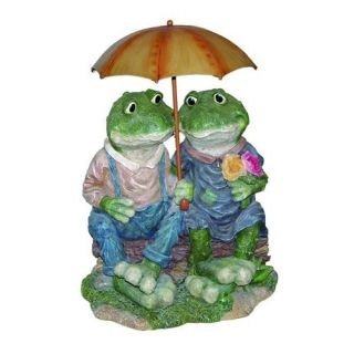 Two Country Frogs with Umbrella Cast Resin Garden Statue   Garden Statues