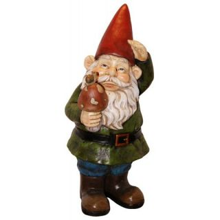 Grady Garden Gnome With Mushroom Cast Resin Garden Statue   Garden Statues
