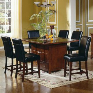 Steve Silver Serena Granite Top 7 Piece Counter Height Set   Dining Table Sets