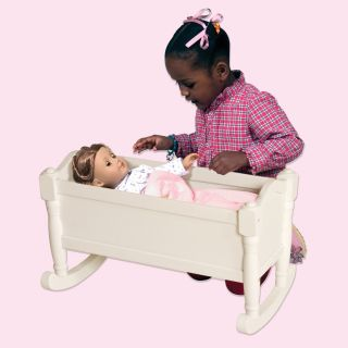 Guidecraft Doll Cradle   White   Baby Doll Furniture