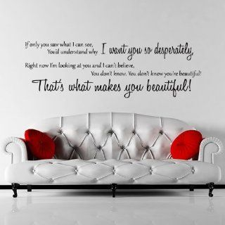 One Direction Beautiful Quote Wandtattoo / Aufkleber   T�rkis   W178 x H57: Küche & Haushalt