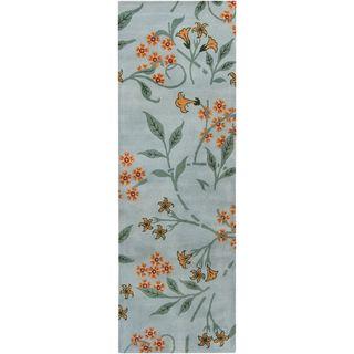 Mandara Hand tufted Floral Blue Wool Rug (2'6 x 7'6) Mandara Runner Rugs