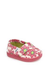TOMS Classic Tiny   Pink Daisy Slip On (Baby, Walker & Toddler)