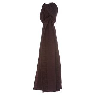 Fendi 'FXT079 00P9Z F0KWF' Wool Scarf With Zucca Trim Fendi Designer Scarves & Wraps