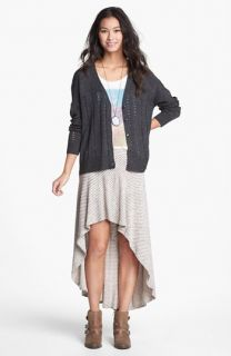 Mimi Chica Stripe Knit High/Low Skirt (Juniors)