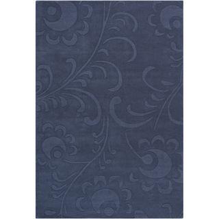 Mandara Hand tufted Floral Blue Wool Rug (5' x 7'6) Mandara 5x8   6x9 Rugs