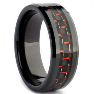 Tungsten Carbide Men's Black and Red Carbon Fiber Inlay Ring Men's Rings