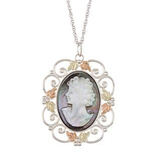 Black Hills Gold and Silver Mother of Pearl Cameo Necklace Black Hills Gold Black Hills Gold Necklaces