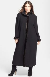 Ellen Tracy Faux Fur Trim Wool Blend Coat (Plus Size)