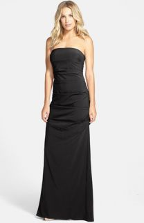 Nicole Miller Pleated Strapless Gown