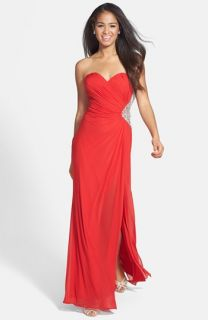 La Femme Embellished Ruche Stretch Knit Gown