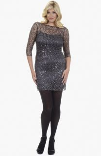 Kay Unger Sequin Lace Dress (Plus Size)