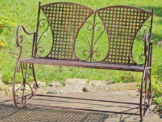 Schaukelbank Metall Eisen braun Schaukelstuhl 2 Sitzer Bank zum Schaukeln Metallbank Gartenm�bel Vintage Nostalgie 106x74x87cm: Küche & Haushalt