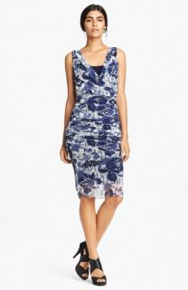 Jean Paul Gaultier Rose Print Faux Wrap Tulle Dress