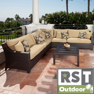 RST Delano 6 piece Corner Sectional Sofa and Coffee Table Set Patio Furniture RST Brands Sofas, Chairs & Sectionals