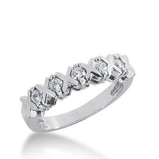 14K Gold Diamond Anniversary Wedding 5 Round Brilliant Diamonds 0.35 ctw. 189WR137314K: Wedding Bands Wholesale: Jewelry