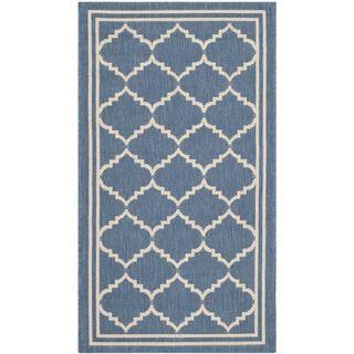 Safavieh Practical Indoor/ Outdoor Courtyard Blue/ Beige Rug (2'7 x 5') Safavieh 3x5   4x6 Rugs