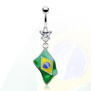 "316L Surgical Stainless Steel and Star Gem Navel Belly Button Ring with Epoxy ""Flag of Brazil"" Dangle   14 GA 3/8"" Long: West Coast Jewelry: Jewelry"