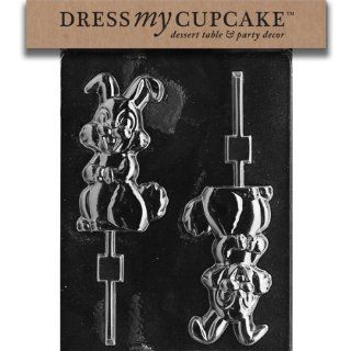 Dress My Cupcake DMCE194SET Chocolate Candy Mold, Medium Happy Bunny Lollipop, Set of 6: Kitchen & Dining