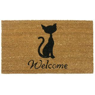Meow Cat Coir Welcome Mat Rubber Cal Door Mats