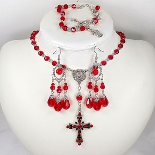 Light Siam Crystal Catholic Wedding Jewelry Set Jewelry Sets