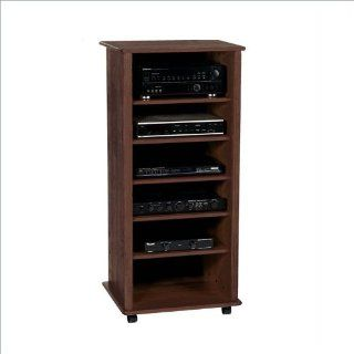 Wood Technology 6 Shelf Stereo Cabinet (Oak, Ebony or Espresso) AR 53   Audio Video Component Shelves