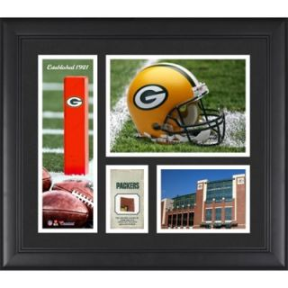 Green Bay Packers Team Logo Framed 15 x 17 Collage with Game Used Football