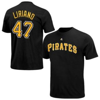 Majestic Francisco Liriano Pittsburgh Pirates Player T Shirt   Black