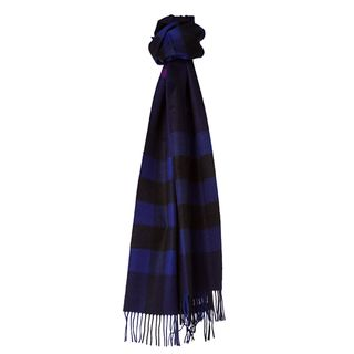 Burberry 3826720 Marine Blue/ Black Check Cashmere Scarf Burberry Designer Scarves & Wraps