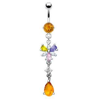 Citrine colored jeweled belly ring with dangling mulit color flower and citrine stone: Jewelry